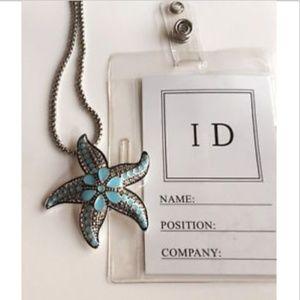 "Silver Starfish ID Lanyard Necklace Aqua 33"""